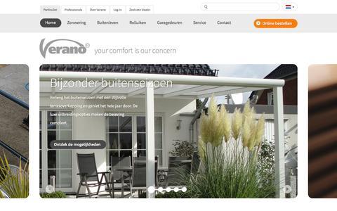 Screenshot of Home Page verano.nl - Zonwering en rolluiken van Verano - captured Jan. 26, 2015