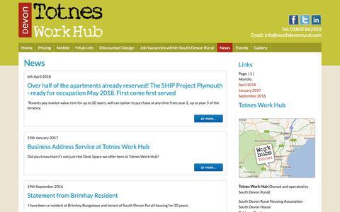 Screenshot of Press Page totnesworkhub.co.uk - Totnes Work Hub - captured Oct. 20, 2018