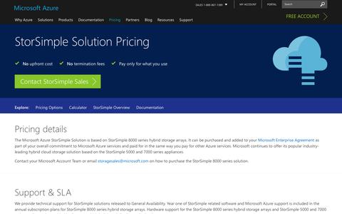 Screenshot of Pricing Page microsoft.com - Pricing - StorSimple | Microsoft Azure - captured Jan. 5, 2017