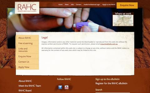 Screenshot of Terms Page rahc.com.au - Legal | RAHC - Remote Area Health Corps - captured Oct. 26, 2014