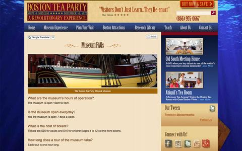 Screenshot of FAQ Page bostonteapartyship.com - Frequently Asked Questions About Boston Tea Party Museum - captured Jan. 21, 2016