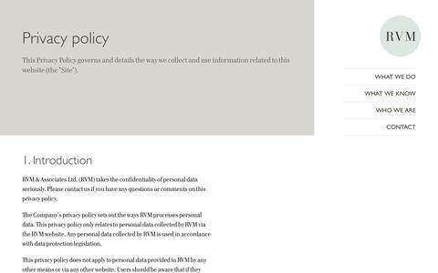 Screenshot of Privacy Page rvonm.co.uk - - RVM - captured Oct. 6, 2014