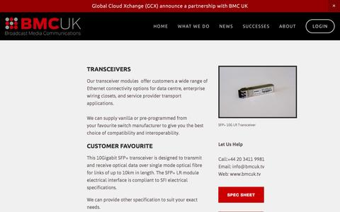 Screenshot of Products Page bmcuk.tv - SFP Transceiver — BMCUK - Broadcast Products and Services - captured Feb. 8, 2016