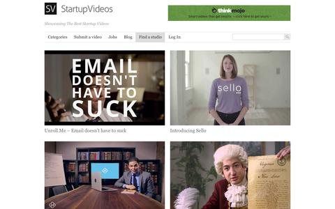 Screenshot of Home Page startup-videos.com - Startup Videos | Showcasing The Best Startup Videos - captured Feb. 15, 2016