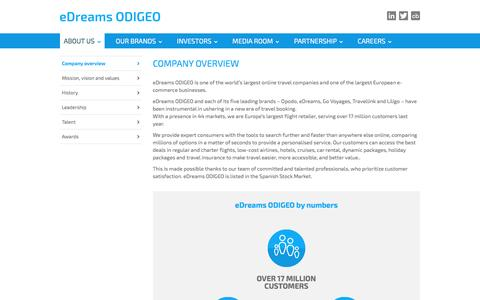 Screenshot of About Page edreamsodigeo.com - Company overview - eDreams ODIGEO - captured May 24, 2017