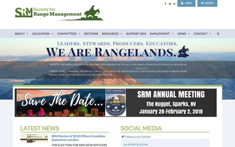 Screenshot of Home Page rangelands.org - Society For Range Management - captured Oct. 26, 2017