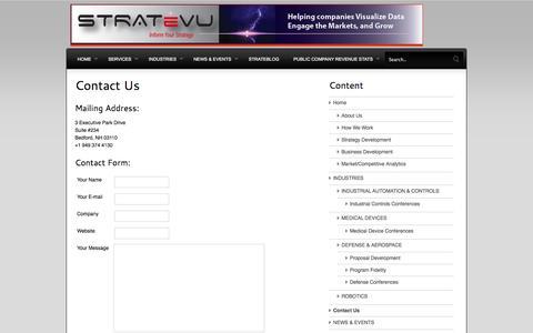 Screenshot of Contact Page stratevu.com - Contact Us   STRATeVU - captured Oct. 3, 2014