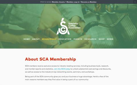 Screenshot of Signup Page sca.coffee - About SCA Membership — Specialty Coffee Association - captured Oct. 9, 2019