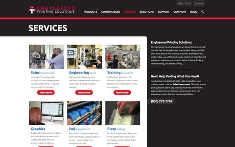 Screenshot of Services Page epsvt.com - Pad Printing Services | Engineered Printing Solutions - captured Sept. 25, 2014