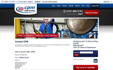 Screenshot of Contact Page cpm-uk.com - Contact CPM Engineering. Free quotation, free collection and deliveryCPM Engineering - captured Oct. 1, 2014