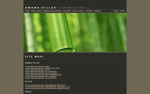 Screenshot of Site Map Page amanavillas.com - AMANA VILLAS SEMINYAK BALI / Villa Site Map in Seminyak Bali - captured Sept. 30, 2014