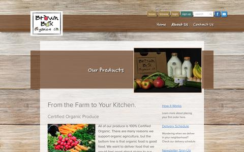 Screenshot of Services Page brownboxorganics.com - Our Products - Brown Box Organics - captured July 30, 2016