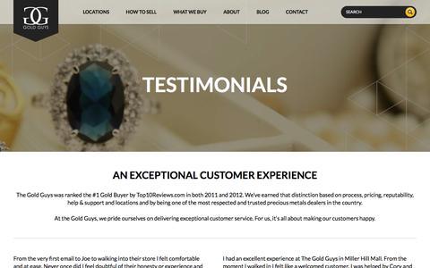 Screenshot of Testimonials Page goldguys.com - Testimonials | Sell Gold | Mail Gold | Your Gold Guys - captured July 21, 2018