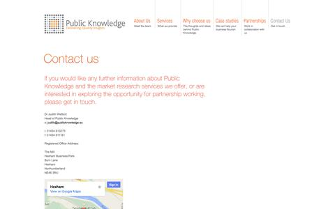 Screenshot of Contact Page publicknowledge.eu - Public and third sector research   http://www.publicknowledge.eu - captured Sept. 30, 2014
