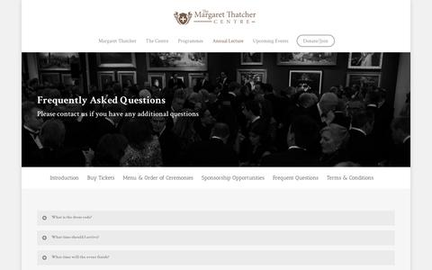 Screenshot of FAQ Page thatchercentre.com - Frequently Asked Questions |  The Margaret Thatcher Centre - captured Dec. 1, 2016