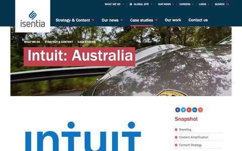Screenshot of Case Studies Page isentia.com - Intuit:  Australia  - Isentia website - captured April 1, 2018