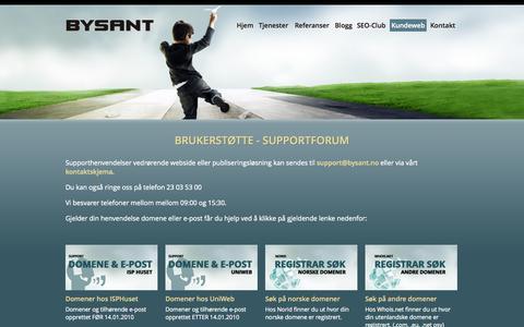 Screenshot of Support Page bysant.no - Webdesign, webpublisering, netthandel, hjemmesider, domene, webhotell, søkemotoroptimalisering, nettbutikk, Bysant AS - captured Oct. 5, 2014