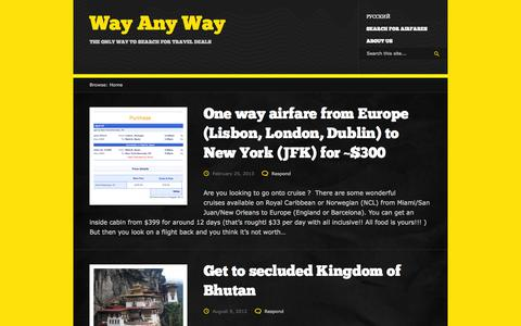 Screenshot of Blog wayanyway.com - Way Any Way - The Only Way to Compare Airfares - captured Oct. 27, 2014