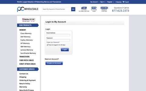 Screenshot of Login Page pc-wholesale.com - PC Wholesale - captured Sept. 25, 2014