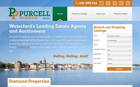 Screenshot of Home Page purcellproperties.ie - Purcell Properties | Waterford's Leading Estate Agents, property consultants, auctioneers and valuers. Specilising in residential and commercial property in Waterford, Wexford, Kilkenny, Tipperary and Cork - captured May 24, 2017