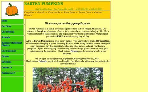 Screenshot of Home Page jksanderlaw.com - Barten Pumpkins - Decorations, Pumpkins, Custom Fall Harvest Displays, Family Friendly Pumpkin Patch and More, near Twin Cities, Minneapolis, St. Paul, South Metro, Minnesota, Scott County, New Prague, Belle Plaine, Jordan, Montgomery, New Market, Lo - captured Oct. 6, 2014