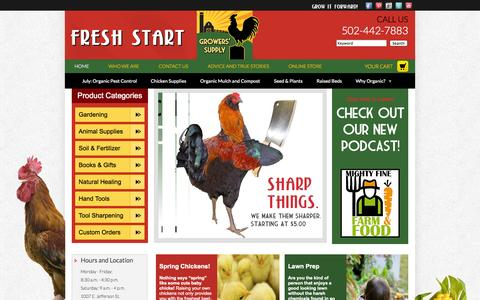 Screenshot of Home Page freshstartgrowers.com - Fresh Start Growers' Supply - captured Oct. 6, 2014