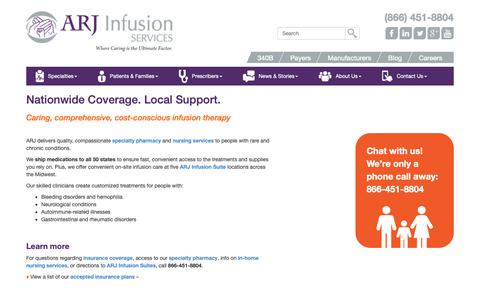 Screenshot of Locations Page arjinfusion.com - Service Locations - ARJ Infusion Services - captured Oct. 2, 2018