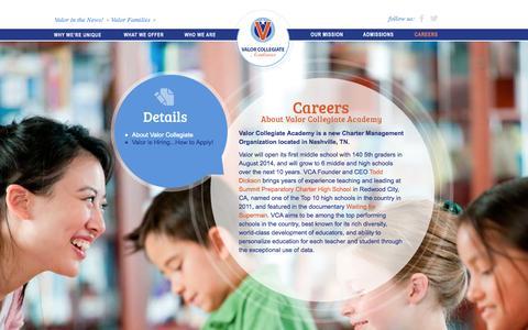 Screenshot of Jobs Page valorcollegiate.org - Valor Collegiate   Careers - captured Oct. 7, 2014