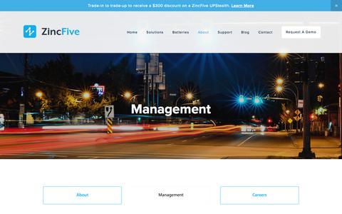 Screenshot of Team Page zincfive.com - Management — ZincFive - captured July 18, 2018