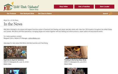 Screenshot of Press Page wbu.com - In the News - Wild Birds Unlimited   Wild Birds Unlimited - captured June 23, 2017