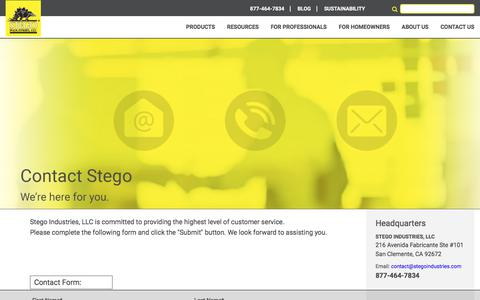 Screenshot of Contact Page stegoindustries.com - Contact Stego | Concrete Moisture Protection - captured Oct. 25, 2017