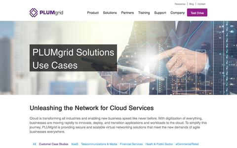Screenshot of Case Studies Page plumgrid.com - Use Cases - PLUMgrid | The Worldwide Leader of Secure Cloud Networks - captured Aug. 27, 2016