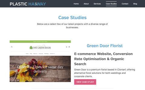 Screenshot of Case Studies Page plastichallway.net - Case Studies - Plastic Hallway - captured July 19, 2018