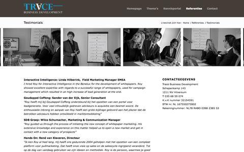Screenshot of Testimonials Page tracebd.nl - Trace     Testimonials - captured Oct. 7, 2014