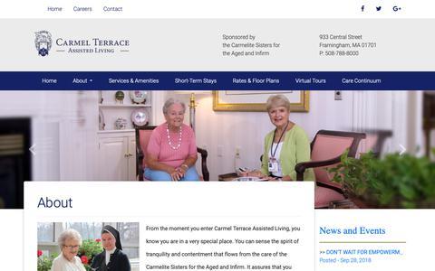Screenshot of About Page carmelterrace.org - Carmel Terrace - Assisted Living, Senior Living, Independent Living, Framingham MA - captured Dec. 6, 2018