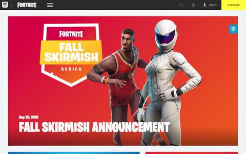 Screenshot of Press Page epicgames.com - Fall Skirmish Announcement - captured Sept. 22, 2018