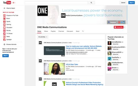 Screenshot of YouTube Page youtube.com - ONE Media Communications  - YouTube - captured Oct. 26, 2014