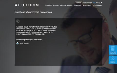 Screenshot of FAQ Page flexicom.ca - Foire aux questions   Flexicom - captured Jan. 23, 2016