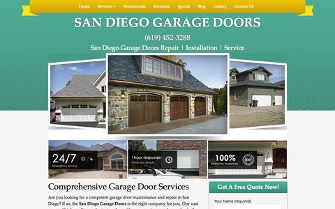 Screenshot of Home Page san-diego-garage-doors.com - San Diego Garage Door Repair | Services | Installation | San Diego CA - captured Sept. 24, 2014