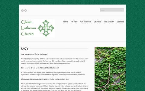 Screenshot of FAQ Page clcah.org - FAQ's | Christ Lutheran Church in Alamo Heights - captured Oct. 2, 2014
