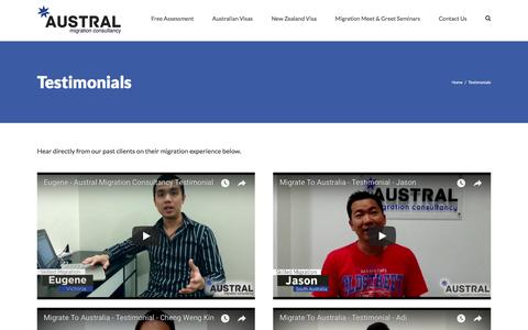 Screenshot of Testimonials Page australmigrate.com - Testimonials | Austral Migration Consultancy - Migrate To Australia From Malaysia or Singapore - captured Oct. 9, 2017