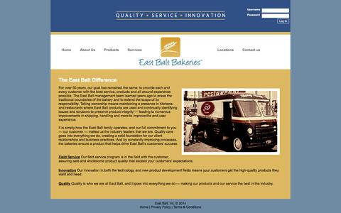 Screenshot of Services Page eastbalt.com - East Balt Bakery - captured Sept. 27, 2014