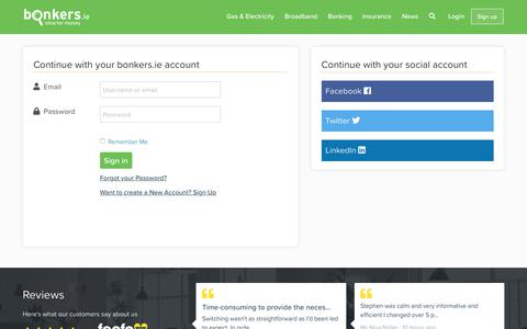 Screenshot of Login Page bonkers.ie - Household Bills Manager - Welcome | bonkers.ie - captured Oct. 6, 2018