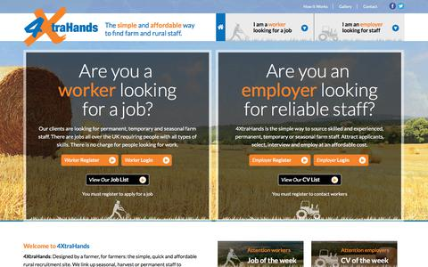 Screenshot of Home Page 4xtrahands.com - 4XtraHands | Agricultural Recruitment | Rural Staff | Farm Staff | Seasonal Staff - captured Sept. 20, 2018