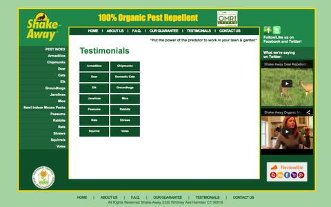 Screenshot of Testimonials Page shake-away.com - Testimonals - captured Oct. 7, 2014