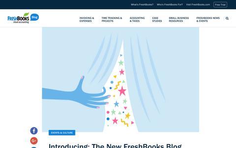 Screenshot of Blog freshbooks.com - Introducing: The New FreshBooks Blog, Redesigned to Serve You Better | FreshBooks Blog - captured Dec. 5, 2017