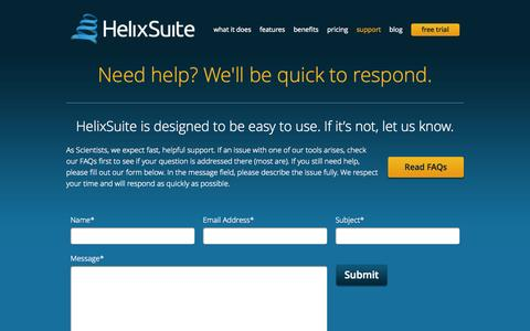Screenshot of Support Page helixsuite.com - Support « HelixSuite - captured Sept. 29, 2014