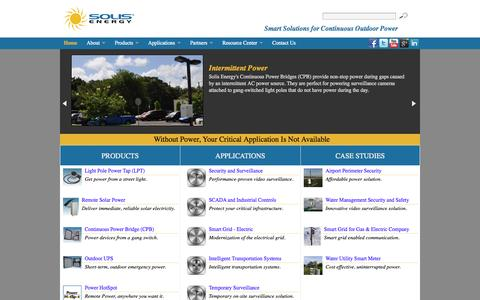 Screenshot of Home Page solisenergy.com - Smart Solutions for Continuous Outdoor Power - captured Oct. 6, 2014