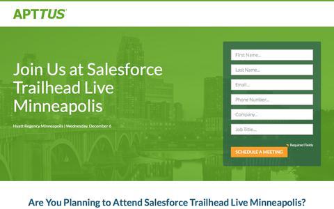 Screenshot of Landing Page apttus.com - SFTL Minneapolis 2017 - captured Sept. 18, 2017