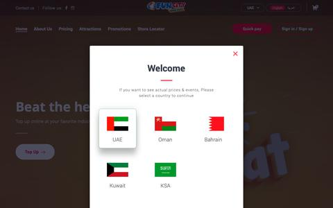 Screenshot of Home Page funcity.ae - Kids Play Area in UAE‎ | Indoor Play Area for Children | Fun City - captured Sept. 26, 2018